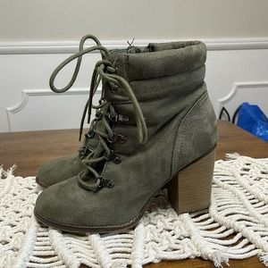 Candie's Suede Faux Leather High Heel Boots Olive Green Women's Size 8.5